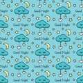 Vector Seamless Pattern With Stars, Moon, Hearts, Clouds And Text. Royalty Free Stock Image - 112925866