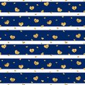 Gold Heart Seamless Pattern. Blue-white Geometric Stripes, Golden Confetti-hearts. Symbol Of Love, Valentine Day Holiday Stock Photography - 112980402