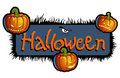 Halloween Scary Titling With Three Pumpkin Heads Stock Images - 11305824