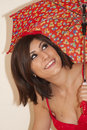 Beautiful Young Brunette Woman With Umbrella Royalty Free Stock Photography - 11308667