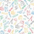 Seamless Illustration  On The Theme Of The School, A Simple Hand-drawn Contour Icons ,colored Markers On A White Background Royalty Free Stock Photo - 113046855