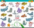 Find One Of A Kind Game With Marine Animals Stock Image - 113156851