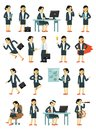 Set Of Businesswoman Characters In Different Poses In Flat Style Isolated On White Background. Royalty Free Stock Photography - 113213627