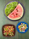 Watermelon And Kiwi Sliced On A Plate Royalty Free Stock Photo - 113282955