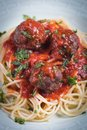 Meat Balls With Spaghetti Pasta And Tomato Sauce Royalty Free Stock Photography - 113396917