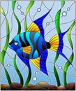 Stained Glass Illustration  Blue  Fish Scalar On The Background Of Water And Algae Stock Image - 113474031