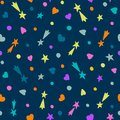 Hand Drawn Seamless Pattern. Falling Stars, Hearts And Circles On A Dark Blue Background. Stock Photography - 113665842