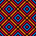 Stylish Seamless Pattern With Decorative Ornament Of Blue, Orange, Red, And Black Shades Stock Photo - 113666720
