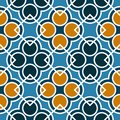 Seamless Geometric Pattern With Circles And Squares Of Blue, Orange, And White Shades Royalty Free Stock Photography - 113666807