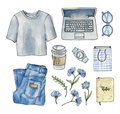 Watercolor Fashion Sketch Clothes And Accessories. Stock Photos - 113677173