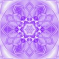 Kaleidoscope Meditation In White And Ultra Violet Floral Tile Mandala Royalty Free Stock Photography - 113724407