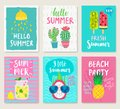 Summer Hand Drawn Calligraphyc Card Set. Royalty Free Stock Photography - 113759807