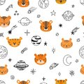 Cute Space Seamless Pattern With Cartoon Tigers. Abstract Print. Hand Drawn Nursery Background With Funny Animals For Little Kids Royalty Free Stock Photos - 113829438
