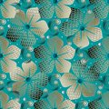 Textured Abstract Floral Seamless Pattern. Vector Turquoise Mode Royalty Free Stock Image - 113960376