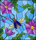 Stained Glass Illustration  With Flying Rhino Beetle On Background Of Branches With Purple Flowers, Leaves And Sky Stock Image - 113973191
