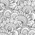 Monochrome Seamless Pattern With Floral Motifs Royalty Free Stock Image - 113980666