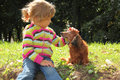 Little Girl Caress Dachshund Outdoor Stock Images - 11411264