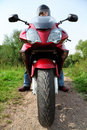 Motorcyclist Standing On Country Road, Closeup Royalty Free Stock Image - 11411606