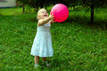 Little Girl With Red Balloon In The Forest. Royalty Free Stock Images - 11415649