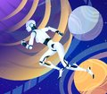 Running Android Robot Woman In Space, Futuristic Vector Fantasy Art Of The Future. Overcoming Space, Interplanetary Stock Photo - 114231250