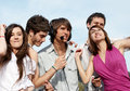Group Of Young Guys And Girls In Park Royalty Free Stock Image - 11436126