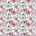 Floral Elegant Wonderful Colorful Tender Gentle Pink Spring Herbal Wildflowers Rose Lilac With Buds And Green Leaves Pattern Royalty Free Stock Photo - 114309975