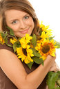Woman With Sunflowers Royalty Free Stock Image - 11447506