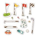 Golf Icons Hobby Equipment Cart Player Golfing Sport Symbol Flag Hole Game Elements Vector Illustration. Royalty Free Stock Image - 114601276