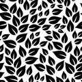 Black And White Simple Leaves Seamless Pattern, Vector Stock Photography - 114690592