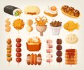 Set Of Fresh Delicious Fast Foods From Asian Streets. Variety Of Stock Image - 114711301