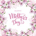 Happy Mother`s Day. Greeting Card With Mother`s Day. Floral Background. Vector Illustration. Stock Photo - 114851510