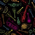 Musical Instruments Drawn In The Form Of A Pattern Royalty Free Stock Photo - 114913255