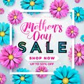 Mothers Day Sale Greeting Card Design With Flower And Typographic Elements On Abstract Background. Vector Celebration Stock Image - 115018561