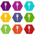 Two Sided Comb Icons Set 9 Vector Royalty Free Stock Photo - 115071375