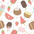 Summer Seamless Pattern With Ice Cream, Fruits, Dots, Strawberries, Hearts. Stock Photography - 115108002
