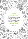 Farmers Market Menu Design Template. Vegetarian Vintage Background With Natural Organic Products. Organic Detailed Stock Photos - 115208253