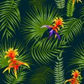 Tropical Leaves And Flowers Seamless Pattern, Vector Stock Images - 115208324