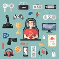 Gamepad Vector Gamer Playing Gameplay And Player Character Gaming Videogame With Joystick Or Game-console Illustration Royalty Free Stock Photography - 115209397