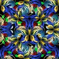 Colorful Floral 3d Vector Seamless Pattern. Baroque Background. Royalty Free Stock Photography - 115227437