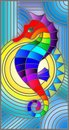 Stained Glass Illustration  With Fabulous Abstract Fish Seahorse, Rainbow Fish On Blue Background Royalty Free Stock Photo - 115285425