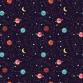 Universe With Planets And Stars Seamless Pattern, Cosmos Starry Night Sky Royalty Free Stock Images - 115369829