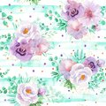 Seamless Watercolor Floral Pattern In Mint Green And Light Purple Violet Colors Royalty Free Stock Photos - 115393098