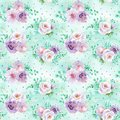 Seamless Watercolor Floral Pattern In Mint Green And Light Purple Violet Colors On Light Green Background Royalty Free Stock Photography - 115394897