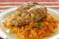Grilled Chicken With Organic Curry Rice Royalty Free Stock Image - 11557596