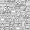 Hand Drawn Seamless Pattern Of Belgian Houses Stock Image - 115695251