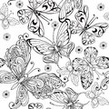Hand Drawing Seamless Pattern Of Butterflies. Vector Seamless Pattern Of Butterflies For The Anti Stress Coloring Page. Stock Image - 115818931