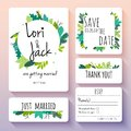 Wedding Invitation Card Set. Thank You, Save The Date, RSVP, Jus Stock Photos - 115865353