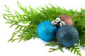 Three Christmas Balls With Green Leaves Royalty Free Stock Photos - 11607808