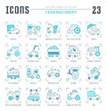 Set Blue Line Icons Of Farm Machinery. Royalty Free Stock Photography - 116025327