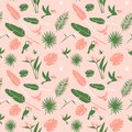 Seamless Floral Pattern Background Tropical Flowers, Jungle Palm Leaves Birds Stock Image - 116027601